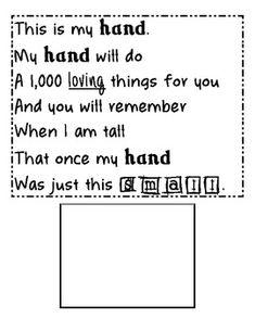 Pretty poem for handprint crafts Grandparents' Day Poem/Craft