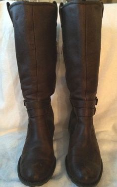 BORN Mid Calf Brown leather Side Zip Double Buckle BOOTS Size 9M  #BORN #FashionMidCalf