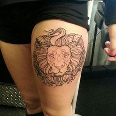 Lion And Lamb Tattoo Designs tattoos Leo Lion Tattoos, Lamb Tattoo, Lion Tattoo On Thigh, Head Tattoos, Time Tattoos, Animal Tattoos, Small Tattoos, I Tattoo, Cool Tattoos