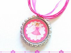 Pink Princess Necklace for Girls  Bottle Cap by splendorhoney