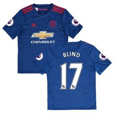 Daley Blind Manchester United adidas Youth 2016/17 Replica Away EPL Badge Jersey - Royal