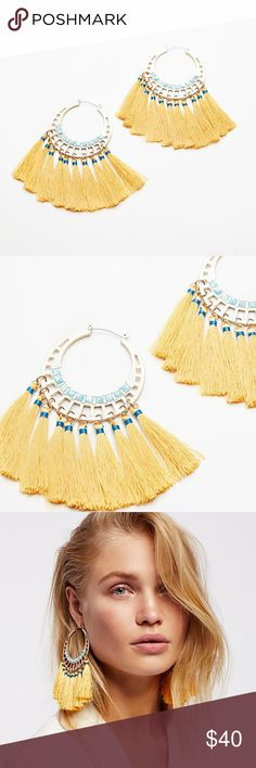NWT FREE PEOPLE SWEPT AWAY TASSEL HOOPS Details: Style No. 43643733 ; Color Code: 072  Embellished hoops featuring dangling statement tassel details.  Care/Import Import Free People Jewelry Earrings