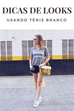 Inspiração e dicas de looks usando tênis branco. O calçado é super básico e versátil, combina com muitas peças e dá para usá-lo de diversas formas.