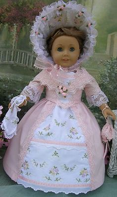 MID 1800'S 10 PIECE GARDEN PARTY DRESS FOR AMERICAN GIRL DOLL FELICITY,ELIZABETH…
