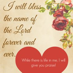 I will bless the name of the Lord forever and ever. While there is life in me, I will give you praise!