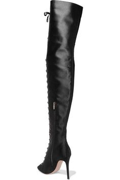 Gianvito Rossi - Lace-up Satin Thigh Boots - Black - IT39.5