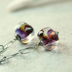 Lampwork  Earrings   Sterling Silver   Glass  Earrings   by hildes, $32.00