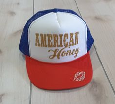 671457e4fec41d American Honey Red White and Blue Trucker Hat, Baseball and Trucker Hat, 4th  of July Hat, Independence Day Hat, Glitter Trucker Hat