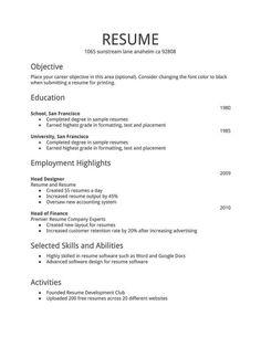 resume for first job sample resume format sample resume templates free resume samples