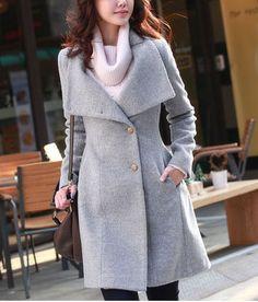 Form Fitting Shirred Waist With Belt Grey Woolen Coat
