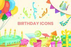 Birthday Icons Set   GraphicMama Birthday Icon, Vector File, Icon Set, Birthday Celebration, Fireworks, Design Bundles, Save Yourself, Presentation, Animation