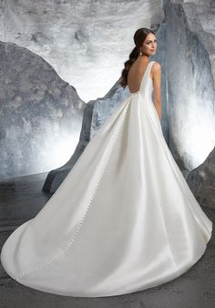 Marcella Satin with Detachable Train and Crystal Trim