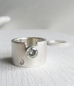 modern wide band engagment ring unique wedding band by lolide