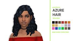 AZURE HAIR - GREENLLAMASI had a sudden burst of inspiration and I had to make this asap before I forgot about it. Anyway details below: • 18 EA swatches • Hat Compatible • Base Game Compatible •...