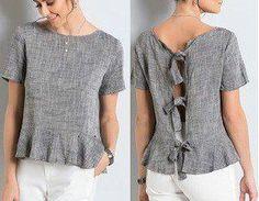 DIY - molde, corte e costura - Marlene Mukai Diy Corset, Sewing Clothes, Diy Clothes, Linen Tunic Dress, Dressy Tops, Blouse Patterns, Blouse Styles, Top Pattern, Plus Size Tops