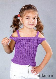 Фиолетовый топ спицами для девочки