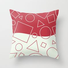 Red White Geometric Shapes Wave Throw Cushion