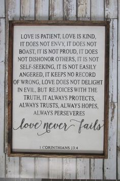 Magnificent Love is Patient, Love is Kind. Corinthians Verse. Wedding Gift. Wood Signs. Rustic Signs. Wooden Sign. Gift under 100. Farmhouse Decor. by WilliamRaeDesigns on Etsy The post Love is P ..