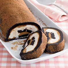 Brownie-Peanut Ice Cream Roll: brownie baked in a jelly roll pan filled w ice cream & peanut butter then rolled & frozen until ready to serve.