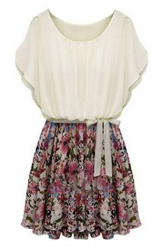 ROMWE | Floral Print Self-tied Dress, The Latest Street Fashion