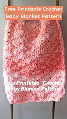 Crochet Shell Blanket, Crochet Baby Blanket Free Pattern, Crochet Blankets, Chunky Blanket, Blanket Yarn, Crochet Blanket Stitches, Crochet Patterns Baby, Bernat Blanket Patterns, Crochet Shell Pattern