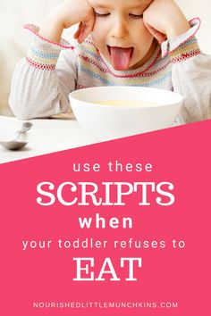 Avoid the mealtime meltdown with your picky eater by using these scripts for common mealtime scenarios.  If your child has trouble coming to the table, you're chasing them around with a spoon, is crying when they are asked to take a bite, throws food on the floor, barely eater a few bites before being full, or is starting to even refuse to eat old favourites, you'll have a framework to address these common mealtime scenarios with understanding and compassions and without using icky methods. Natural Parenting, Kids And Parenting, Parenting Hacks, Baby Food Makers, Making Baby Food, Baby Food Recipes, New Recipes, Occupational Therapy Schools, Toddler Meals