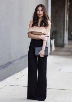 С чем носить брюки-клеш, модные фото образы: широкие брюки клеш с завышенной талией - Я Покупаю