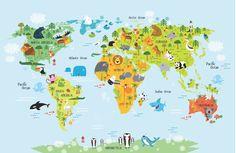 Hayvanlar Alemi Dünya Haritası 3 Boyutlu Duvar Kağıdı