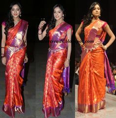 orange and purple pattu saree - Google Search