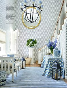 To Add A Feeling Of Intimacy Grand Two Story Entry Mark D Sikes Piled On The Patterns From Bamboo Motif China Seas Wallpaper Striped
