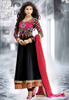 Black Faux Georgette Anarkali Churidar Kameez Online Shopping: KCR6168