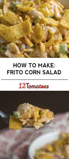 Crunchy Frito Corn Salad maybe sour cream and yogurt instead of mayo? Corn Salad Recipes, Corn Salads, My Recipes, Mexican Food Recipes, Appetizer Recipes, Cooking Recipes, Favorite Recipes, Appetizers, Corn Salad Recipe Easy