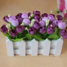 SHARE & Get it FREE   Bonsai Stockade Pot Fake Rose Artificial Flower SetFor…
