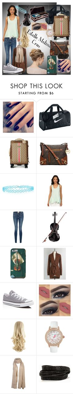 """Estelle's Look"" by carmen-41-navarro on Polyvore featuring Lottie, NIKE, GUESS, MICHAEL Michael Kors, Accessorize, Dylan, Frame Denim, Rosin, Myrtlewood and Converse"