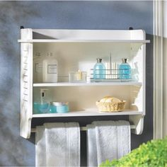 Chic white wood bathroom wall shelf towel bar wooden shelves bath home decor bright white louvered shelf contains clutter and adds style appeal to your powder room! White Bathroom Shelves, Bathroom Wall Storage, Wall Mounted Bathroom Cabinets, Bathroom Windows, Wood Bathroom, Bathroom Furniture, Small Bathroom, Bathroom Storage, Bathroom Ideas