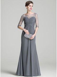 A-Linie/Princess-Linie U-Ausschnitt Bodenlang Chiffon Kleid für die Brautmutter mit Rüschen Perlen verziert Pailletten