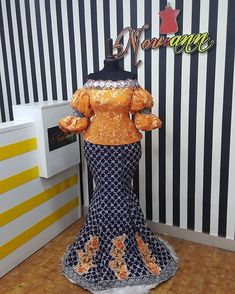 A sweet lady in UK wanted Orange & Blue for an occasion and this is what we cooked. My peeps this is. African Fashion Ankara, Latest African Fashion Dresses, African Dresses For Women, African Print Dresses, African Attire, Cord Lace Styles, Lace Dress Styles, African Lace Styles, African Style