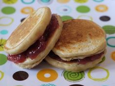 Peanut Butter and Jelly Pancake Sandwiches for kids    For a new spin on an old favorite, layer PB between two silver-dollar-size pancakes. Bring along some Wet Ones - this could get sticky!