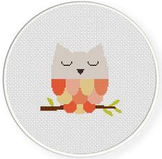 SALE Sleepy Owl PDF Cross Stitch Pattern by DailyCrossStitch