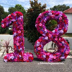 Diy Party Decorations, Birthday Decorations, Flower Wall, Heart Flower, Debut Ideas, Graduation Party Themes, 18th Birthday Party, Floral Letters, Birthday Numbers