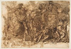 Salvator Rosa (Italian, 1615–1673). Witches' Sabbath (recto); Figures Gathered around a tree (verso), 1615–73. The Metropolitan Museum of Art, New York. Harry G. Sperling Fund, 1976 (1976.331.2) #halloween