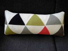 Sausage cushion in Olive & Coral by kylie3sheets on Etsy, $60.00