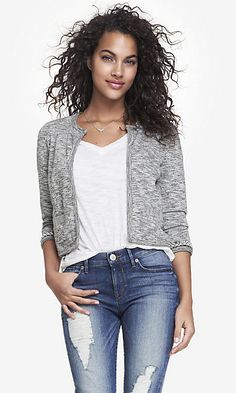 CROPPED BEAD EMBELLISHED FRENCH TERRY JACKET