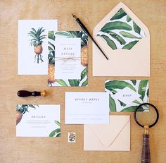 Tropical Wedding Invitations by Rachel Marvin Creative