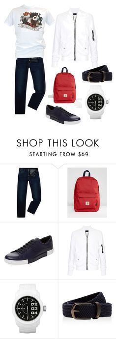 """Без названия #23"" by polina-anastasia ❤ liked on Polyvore featuring Armani Jeans, Carhartt, Prada, RtA, Diesel, Ted Baker, Dsquared2, men's fashion and menswear"