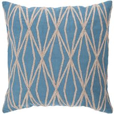 Cotton pillow with a geometric motif in ocean blue. Product: PillowConstruction Material: Cotton coverColor: Ocean blue and desert sandFeatures: Made in IndiaInsert included Dimensions: x and Care: Blot stains Modern Throw Pillows, Blue Throw Pillows, Accent Pillows, Decorative Throw Pillows, Decorative Accents, Decorative Objects, Geometric Throws, Geometric Pillow, Cotton Pillow