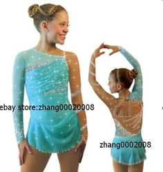 Ice skating dress.Competition blue Figure Skating / Baton Twirling dress child10