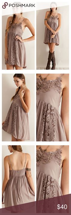LACE DETAIL BABYDOLL DRESS Solid rayon babydoll dress featuring lace detailing throughout. Elasticized back with invisible zipper. Adjustable straps, partially lined. Non-sheer, woven, lightweight. PRETTY! tla2 Dresses Mini