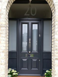 Victorian Front Door with sidelights and satin glass with clear pin stripe - doors and windows - Door Design Hardwood Front Doors, Grey Front Doors, Front Doors With Windows, Wooden Front Doors, Painted Front Doors, Glass Front Door, The Doors, Doors With Glass Panels, Front Door Colours