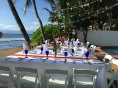 We love working with CJ's Catering for simple Maui weddings, like this one at the Lahaina Oceanfront Estate, or the White House of Lahaina. Hawaii Weddings by Tori Rogers  www.hawaiianweddings.net